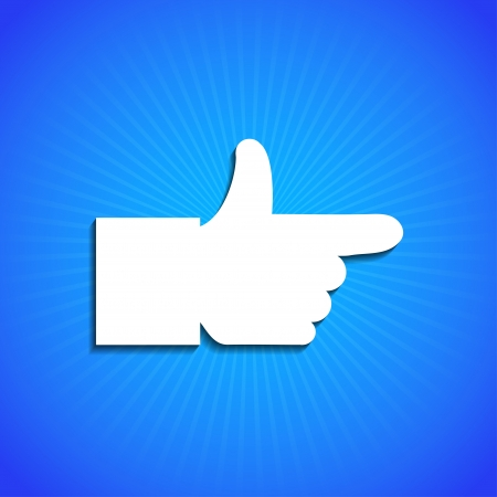thumb print: Vector icon on blue background. Eps10