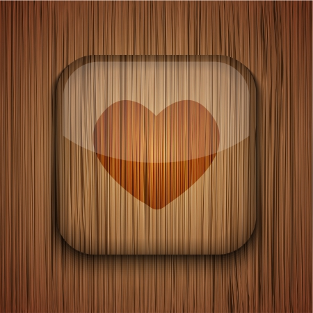 wooden app icon on wooden background.  Vector