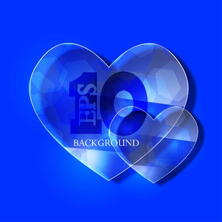 glass heart on blue background.  Stock Vector - 17681765