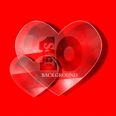 glass heart on red background.  Stock Vector - 17681752