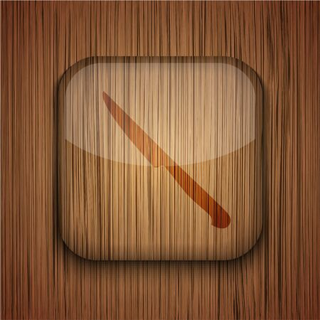 Vector wooden app icon on wooden background. Eps10 Stock Vector - 17660780