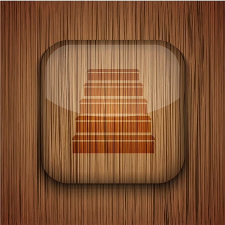 Vector wooden app icon on wooden background. Eps10 Stock Vector - 17660785