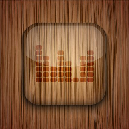Vector wooden app icon on wooden background. Eps10 Vector