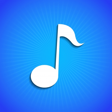 sheet music: Vector icon on blue background. Eps10