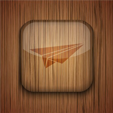wooden app icon on wooden background.  Stock Vector - 17682396