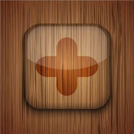 Vector wooden app icon on wooden background. Eps10 Stock Vector - 17681789