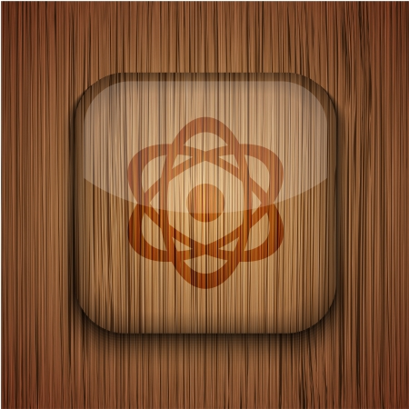 wooden app icon on wooden background. Stock Vector - 17681792
