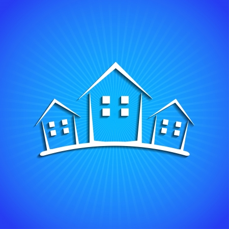 clean house: icon on blue background.