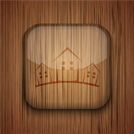 wooden app icon on wooden background.  Stock Vector - 17681801