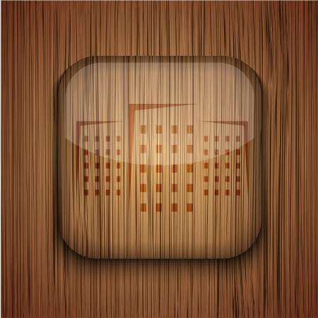 wooden app icon on wooden background. Stock Vector - 17681810