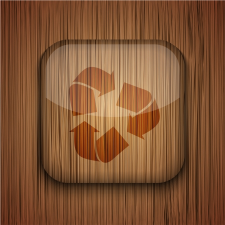 wooden app icon on wooden background.  Stock Vector - 17681799