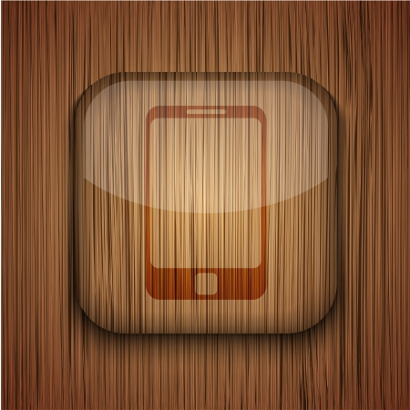 Vector wooden app icon on wooden background. Eps10 Stock Vector - 17681868