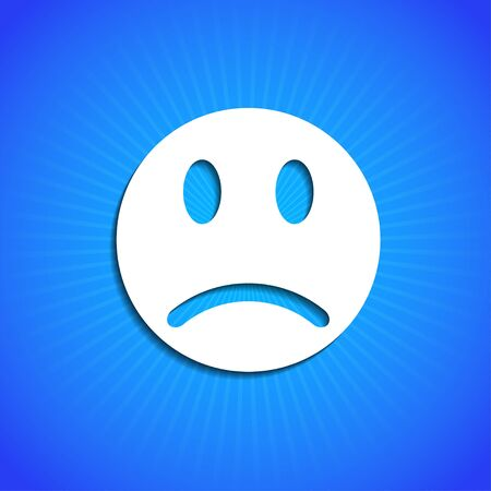 sad face: Vector icon on blue background. Eps10