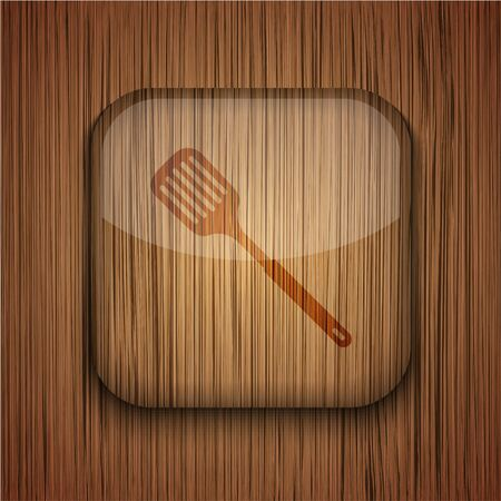 slotted: Vector wooden app icon on wooden background. Eps10