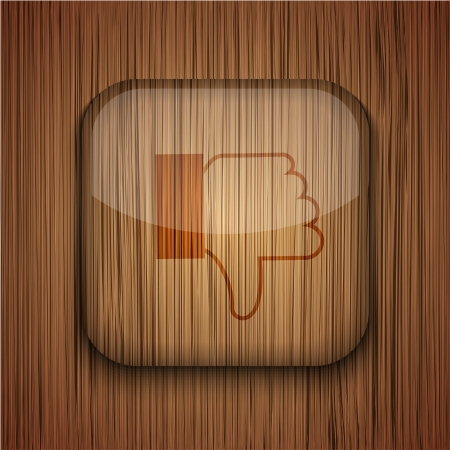 decline in values: Vector wooden app icon on wooden background. Eps10