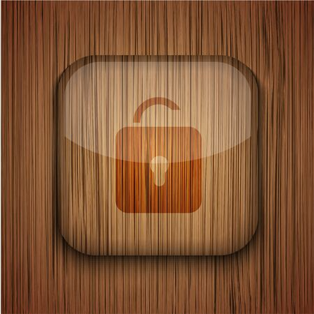 Vector wooden app icon on wooden background. Eps10 Stock Vector - 17681873