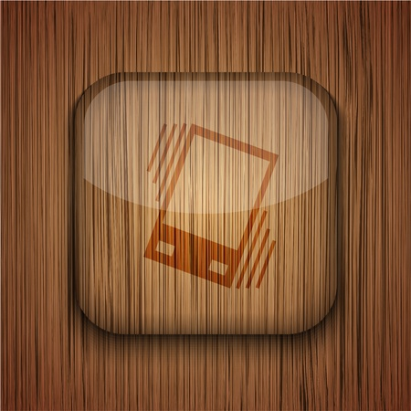 sleepiness: Vector wooden app icon on wooden background. Eps10