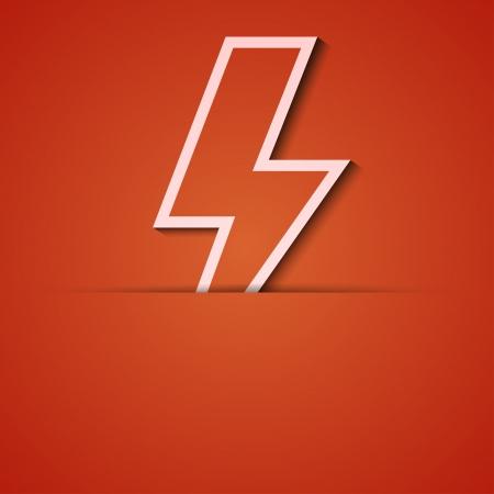 rayo electrico: fondo. Orange icono apliques. Vectores