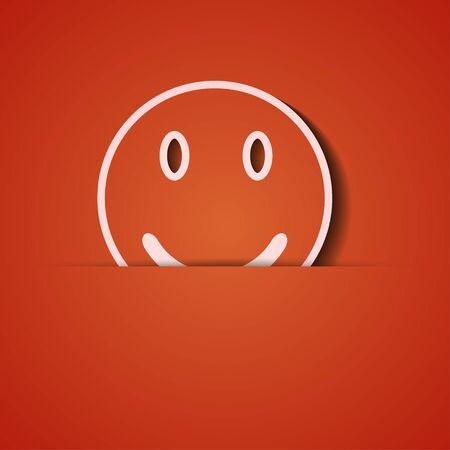 smiley face icon: background. Orange icon applique.
