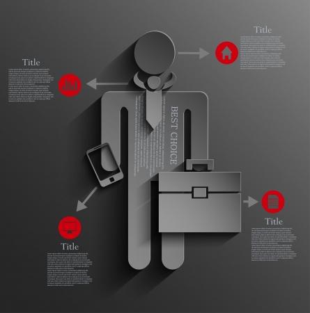 empresario infografía diseño del fondo. Ilustración de vector