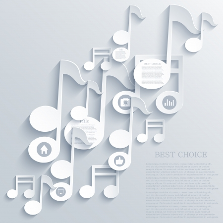 sheet music: note icon background.  Illustration