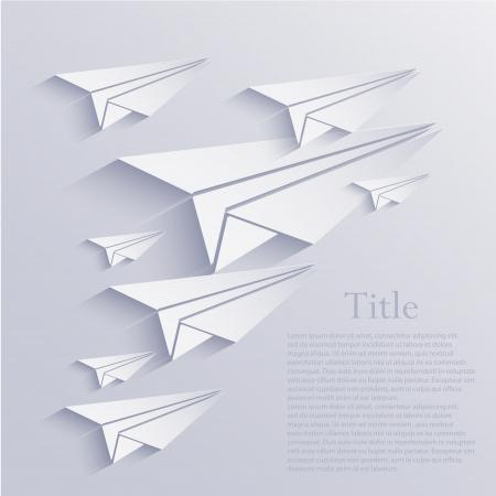 creative background: origami airplane icon background.  Illustration