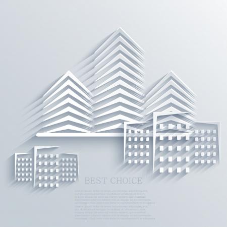 사무실 건물: 부동산 아이콘 배경. 일러스트