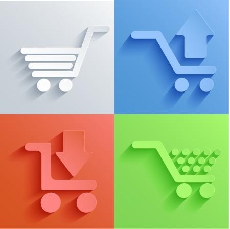 winkelen pictogram set achtergronden. Stock Illustratie