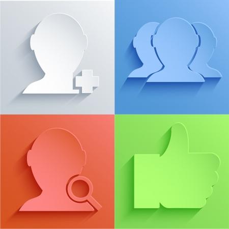 social Network icon set backgrounds. Illustration