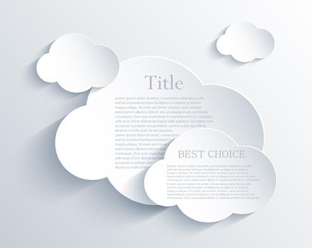 nubes caricatura: elemento de diseño de la nube con el lugar para su texto.