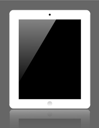 realistic computer tablet on gray background.