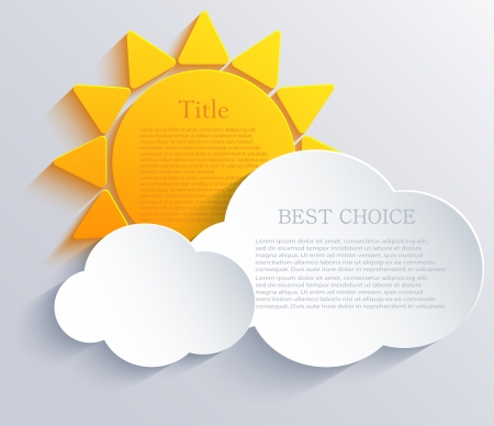 beautiful sunshine: sun with clouds background. Illustration