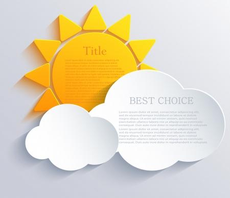zon met wolken achtergrond. Stock Illustratie