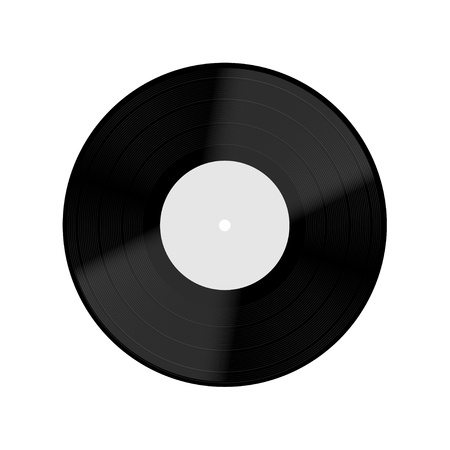 Old vinyl record isolated on white background.  Vector
