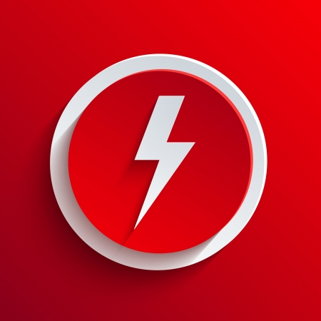 lightning speed: Vector red circle icon.