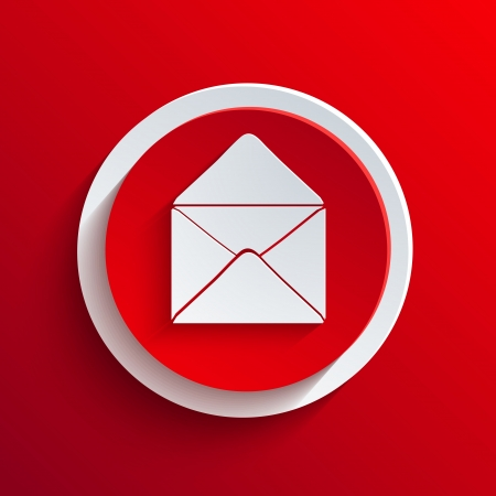 email contact: Vector red circle icon.