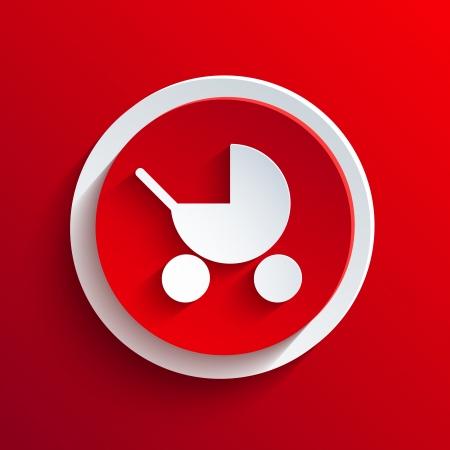 nursing mother: Rojo del vector del icono del c�rculo.