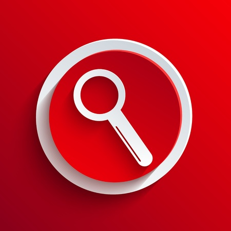 field glass: Vector red circle icon.