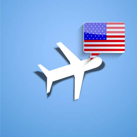 Vector airplane with usa bubble speech background. Eps10 Vector