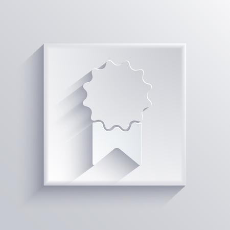 award ribbon: Vector light square icon. Eps 10 Illustration