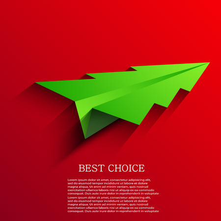 Vector concept of the Christmas tree and origami airplane. Eps10 Vector