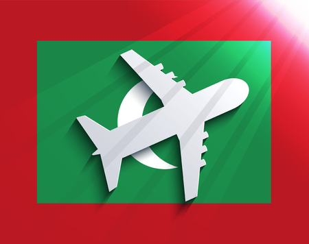 Vector flag with airplane. Travel background. Eps 10 Vector
