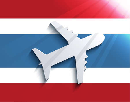 Vector flag with airplane  Travel background  Eps 10 Vector