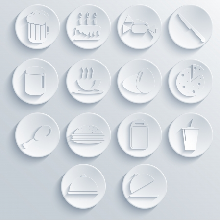 Vector food icon set on blue background. Eps10 Vector