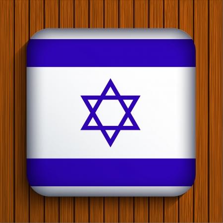 israelite: Vector flag icon on wooden background. Eps10 Illustration