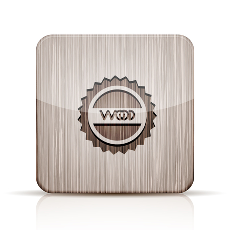 application recycle: Vector wooden app icon on white background. Eps 10 Illustration