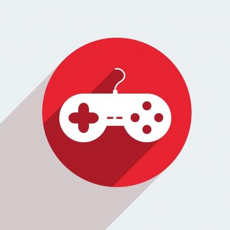 joypad: Vector c�rculo rojo icono en gris