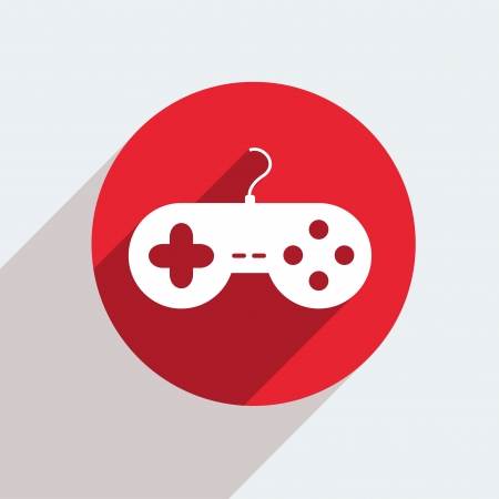 gamepad: Vector red circle icon  on gray