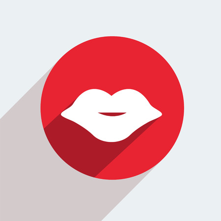 lip kiss: Vector red circle icon  on gray
