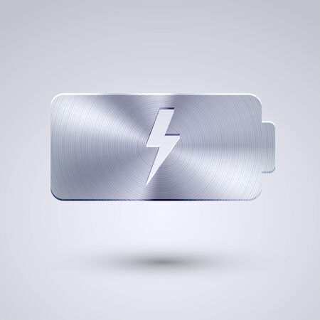cell charger: Vector full metal icon on blue